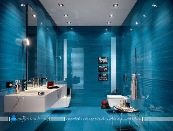 کاشی کف و دیوار حمام و دستشویی با رنگ بندی آبی / عکس