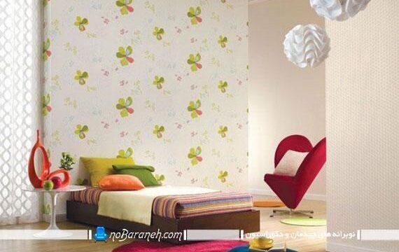 مدل کاغذ دیواری اتاق کودک با طرح گلهای زیبا