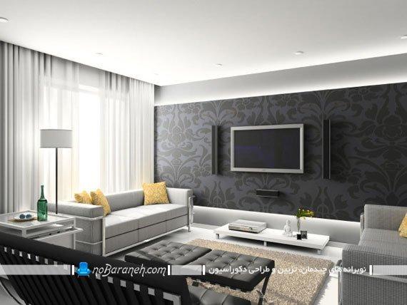 دیزاین دیوار پشت تلویزیون با کاغذ دیواری فانتزی