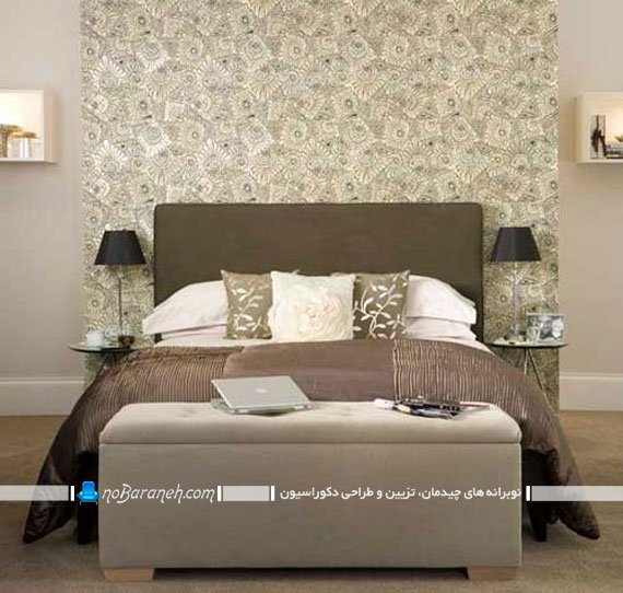 نصب کاغذ دیواری پشت سرویس خواب و تخت خواب