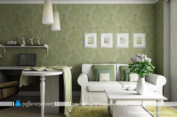 کاغذ دیواری طرح دار سبز رنگ، مدل های جدید کاغذ دیواری / عکس