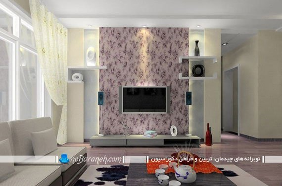 تبدیل فضای پشت تلویزیون به نقطه کانونی با کاغذ دیواری / عکس