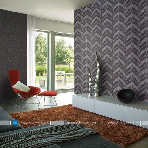 کاغذ دیواری ساده و طرح دار خاکستری برای تزیین دیوارهای خانه / عکس