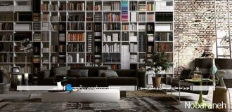 مدل کتابخانه بزرگ چوبی با طراحی ساده و زیبا
