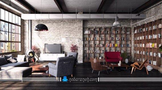 قفسه بندی چوبی دو تکه در اتاق نشیمن و پذیرایی، مدل های جدید کتابخانه چوبی کلاسیک برای فضاهای بزرگ