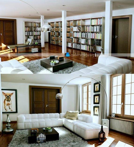 مدل کتابخانه های خانگی چیدمان شده در اتاق پذیرایی، کتابخانه های بزرگ و جادار برای چیدمان در اتاق پذیرایی و نشیمن خانه
