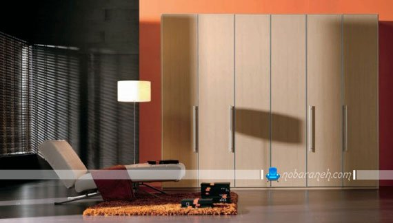 عکس مدل کمد چوبی ساده و ظریف با شش درب آکاردیونی / عکس