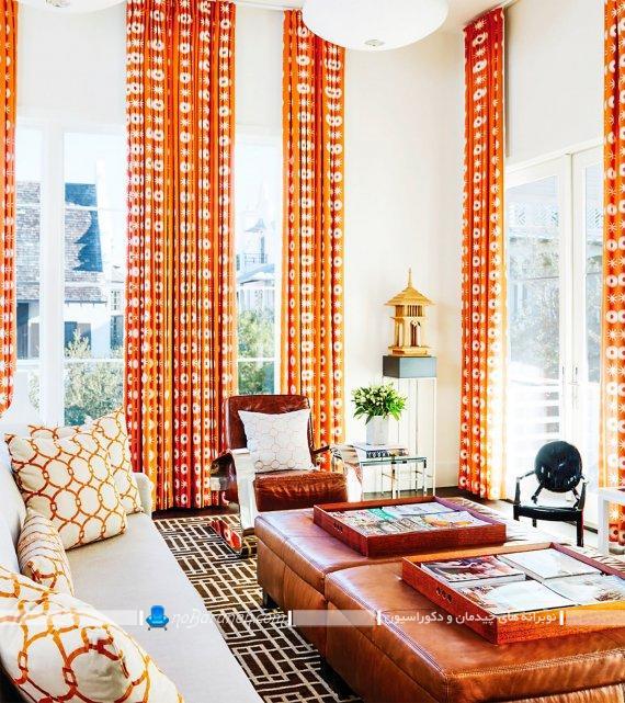 دکوراسیون اتاق پذیرایی با رنگ نارنجی. طراحی شیک اتاق پذیرایی با رنگ های شاد