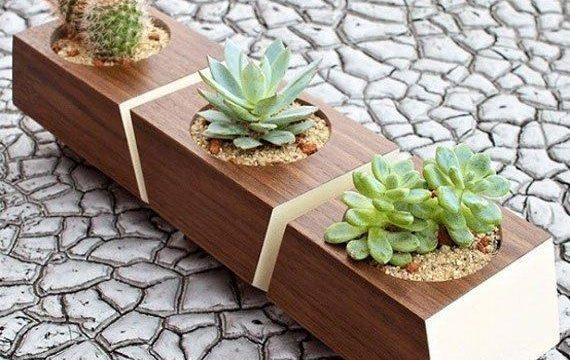 گلدان تزیینی و دکوری چوبی با طراحی پازلی