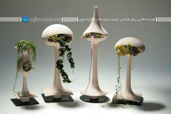 گلدان سفالی پایه بلند تزیینی و مدرن