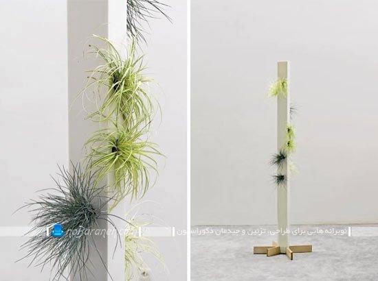 گلدان چوبی ساده و پایه بلند خانگی و آپارتمانی
