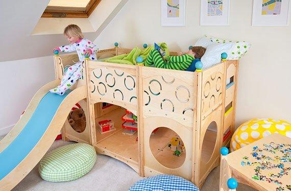 تخت خواب اتاق بچه ها با سرسره و فضای بازی / عکس