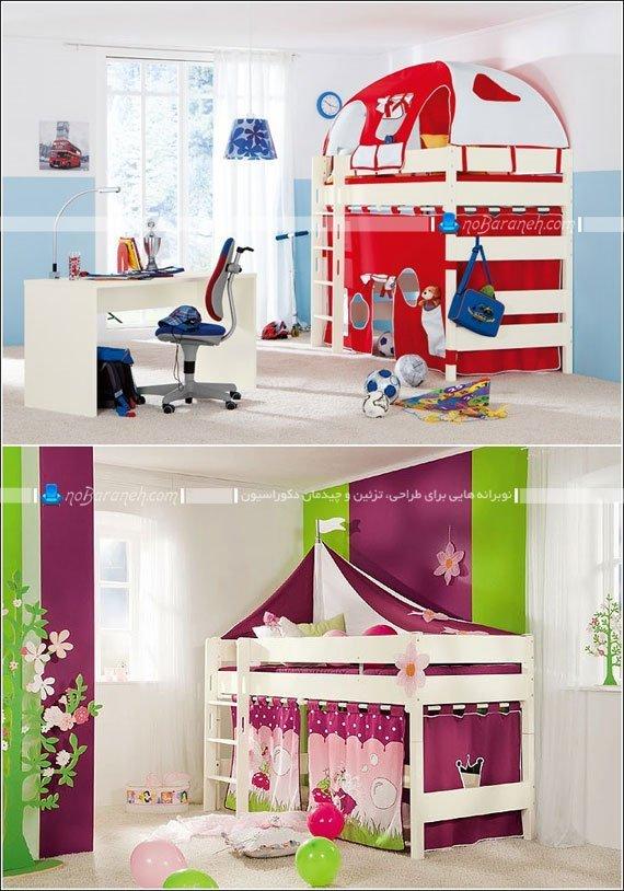 تخت خواب دو طبقه کودک با فضا و اتاقک بازی / عکس
