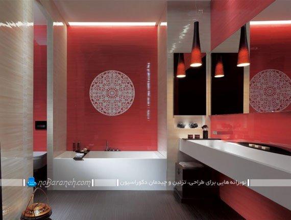 کاشی و سرامیک کرم و قرمز در حمام / عکس