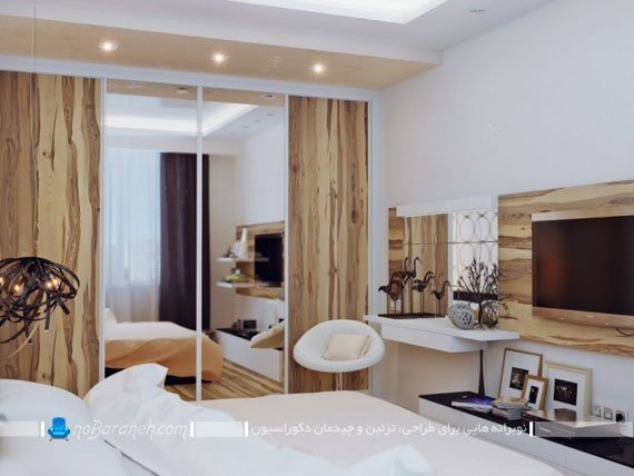 کمد و میز تلویزیون دیواری با طرح چوب / عکس