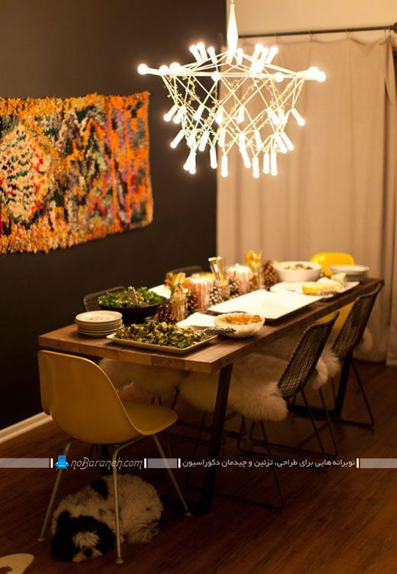میز غذاخوری چوبی و شش نفره / عکس
