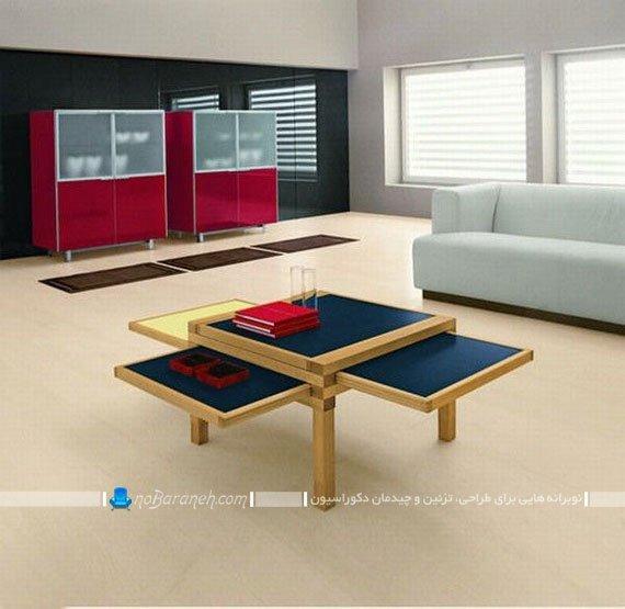 عکس مدل میز عسلی و پذیرایی چوبی / عکس