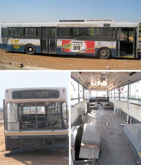 تبدیل فضای داخلی اتوبوس قدیمی به فضای نشیمن
