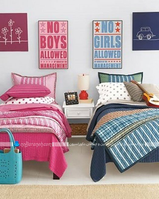 دیزاین اتاق خواب مشترک خواهر و برادر دوقلو
