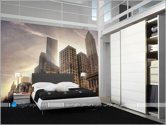 پوستر دیواری اتاق خواب با طرح برج و ساختمانهای بزرگ