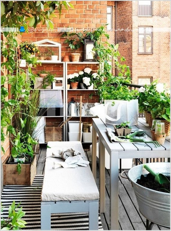 گلدان و قفسه های ایکیا برای تراس و بالکن