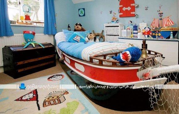 سرویس تخت خواب کودک پسرانه شیک طرح قایق و کشتی در مدل های جدید شیک فانتزی چوبی.