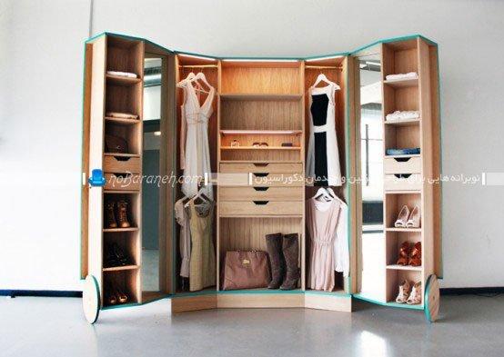 مدل کمد لباس عروس با کشو و آینه و رخت آویز