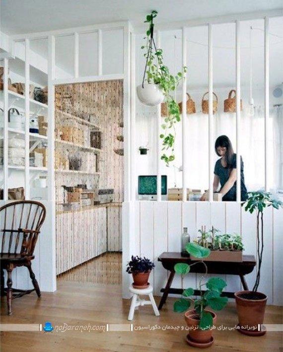 مدل پارتیشن چوبی نرده ای برای آشپزخانه
