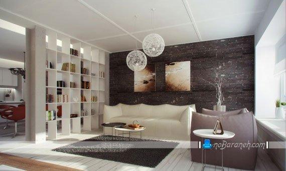 پارتیشن اتاق پذیرایی به شکل قفسه های ساده