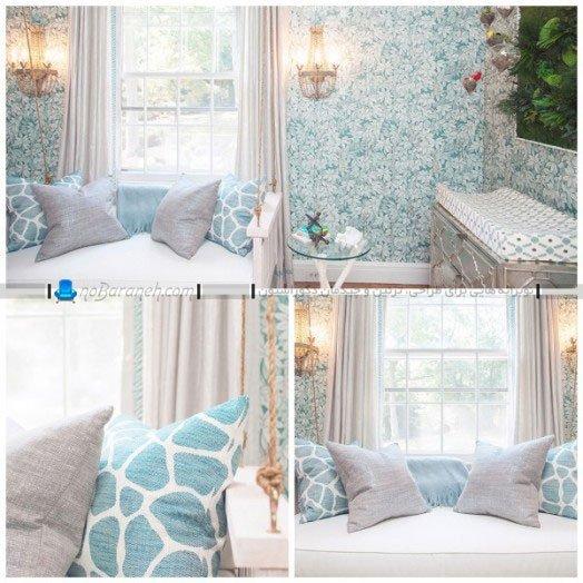 تزیین و دیزاین سلطنتی اتاق نوزاد با رنگ آبی