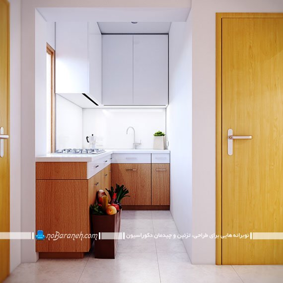 طراحی کابینت چوبی برای آشپزخانه خیلی کوچک / عکس