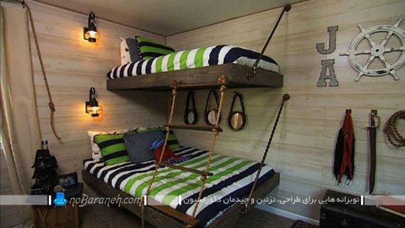 تخت خواب بچه گانه : طرح های فانتزی تخت بچه به سبک کشتی و قایق برای اتاق خواب پسر بچه ها. مدل های جدید تخت دیواری اتاق کودک پسر.