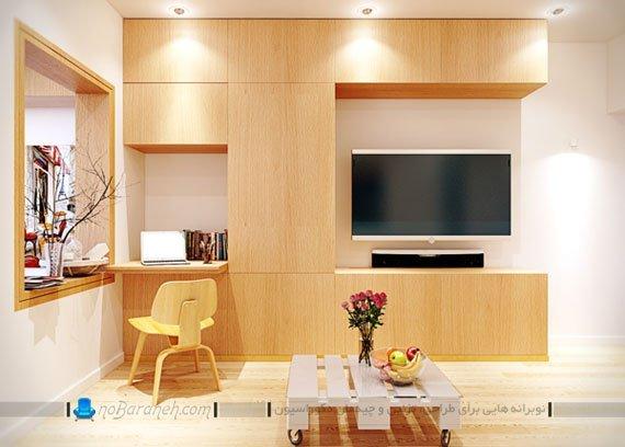 تزیین اتاق پذیرایی با باکس چوبی جادار
