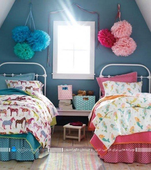 چیدمان تخت خواب دختر و پسر دو قلو در اتاق خواب