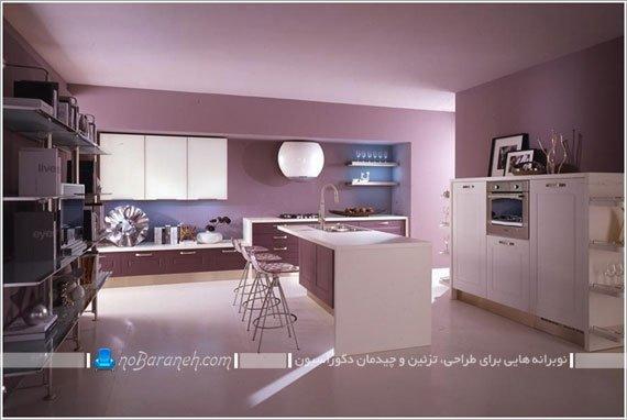 طراحی دکوراسیون آشپزخانه با بنفش