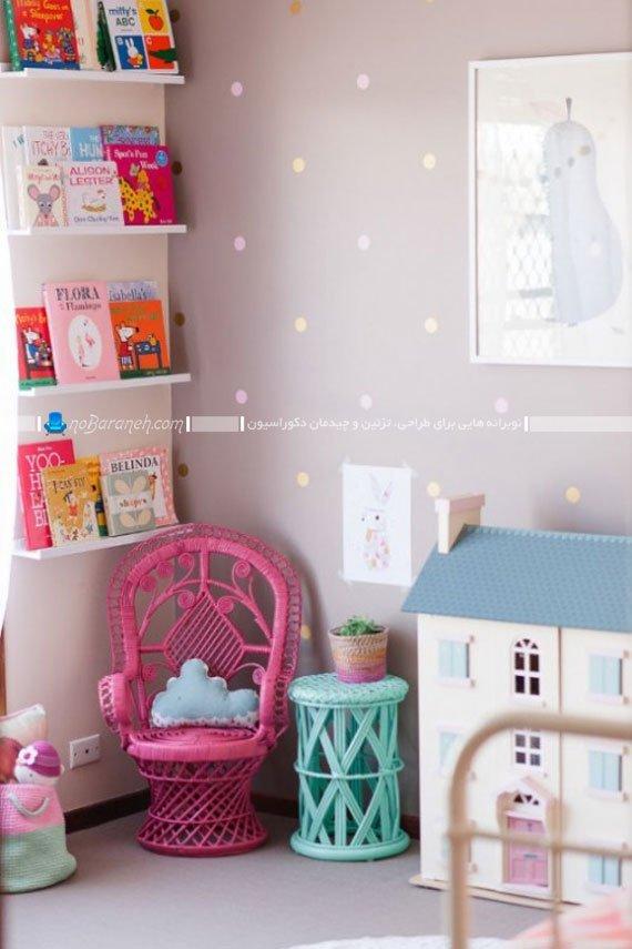 تزیین اتاق کودک دختر به شکل شیک و ساده