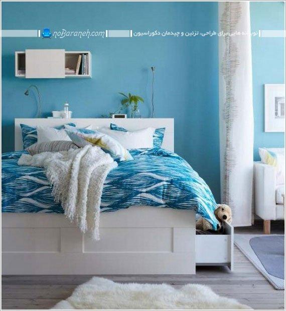 طراحی دکوراسیون اتاق خواب با رنگ آبی / عکس
