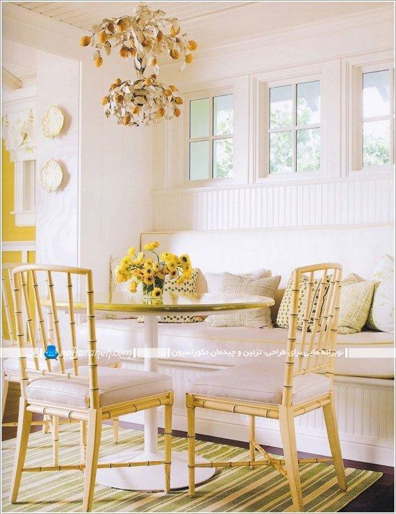 طراحی دکوراسیون اتاق ناهارخوری با زرد و سفید / عکس