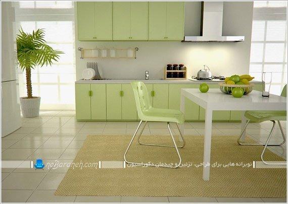 آشپزخانه زیبا با رنگ بندی سفید و سبز / عکس