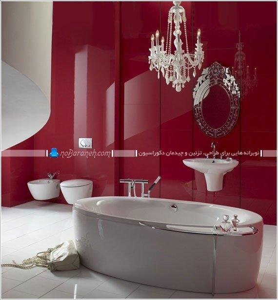 طراحی سرویس بهداشتی و حمام با رنگ زرشکی / عکس
