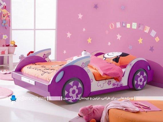 تخت کودک با طرح ماشین دخترانه با طرح و مدل فانتزی شیک پرنسسی زیبا خوشکل.