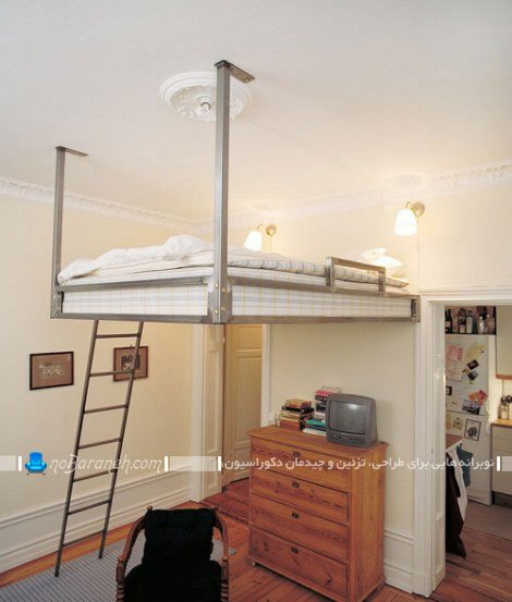 فضاسازی در اتاق خواب با نصب تخت خواب در ارتفاع