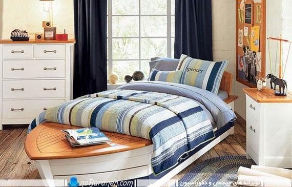 سرویس خواب اتاق کودک با طرح و شکل قایق