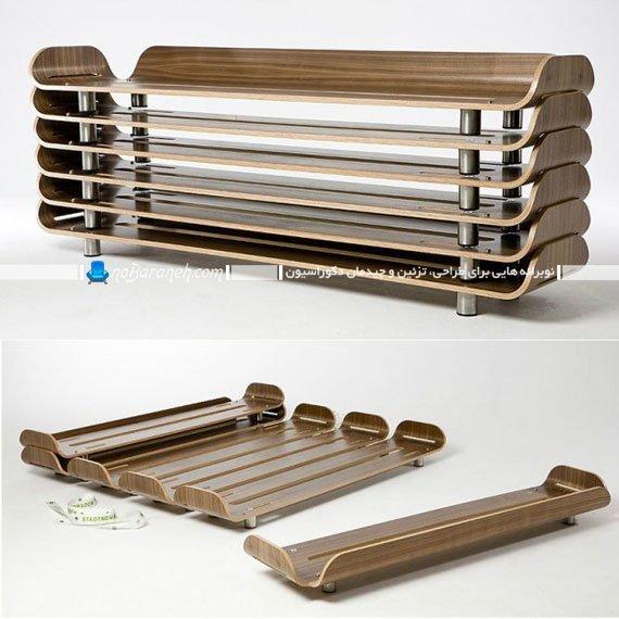 سرویس خواب چند تکه چوبی با طراحی جدید و مدرن / عکس