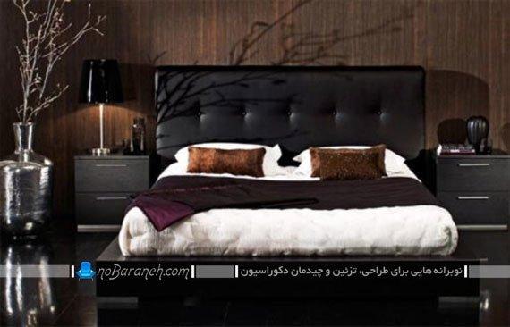 سرویس خواب چرمی اتاق عروس با رنگ مشکی و روتختی سفید
