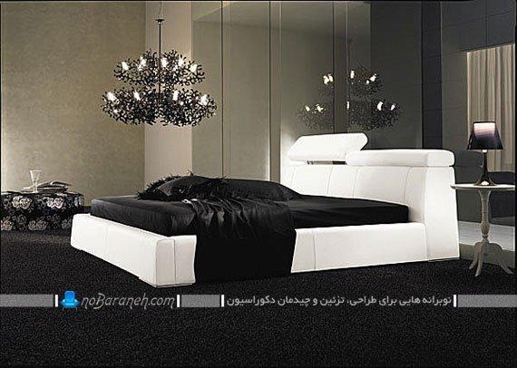 دیزاین اتاق عروس با چیدمان سرویس خواب سفید و مشکی