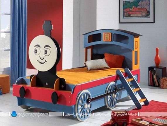 تخت خواب بچه گانه با طرح قطار و ترن برای اتاق خواب کودک پسر. مدل های جدید تحت کودک به شکل قطار کودکانه پسرانه.
