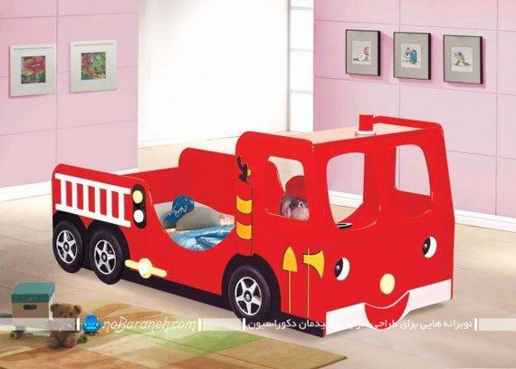 مدل تخت خواب اتوبوسی کودکانه. سرویس خواب بچه گانه شیک با طرح ماشین و اتوبوس برای چیدمان اتاق بچه ها.