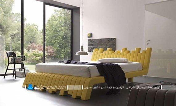 تخت خواب مدرن و فانتزی با رنگ زرد