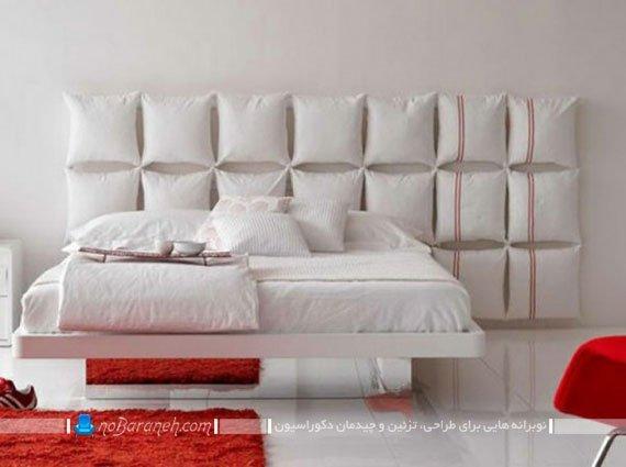 مدل تخت خواب مدرن عروس با رنگ سفید و تریین اطراف با رنگ قرمز
